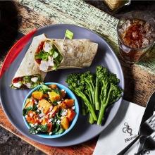 Chicken Wrap, Roasted Sweet Potato & Butternut Squash and Long Stem Broccoli