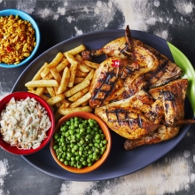 Full Platter - Whole PERi-PERi Chicken, PERi-Salted Chips, Macho Peas, Spicy Rice and Coleslaw
