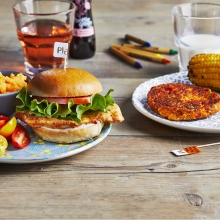 Nandinos - Chicken Burger, Little Tomatoes, Sweet Potato Mash, Sweet Potato & Butternut and Corn on the Cob